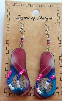 Earring Spirit of Nature flip flops-circle swirls-pink blue white yellow - beads