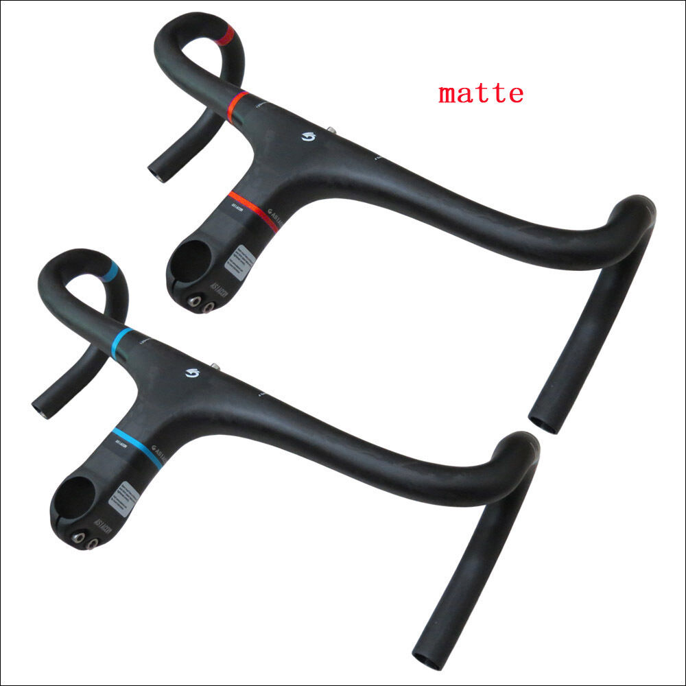 UD Carbon Fiber Integrated Road Bike Drop Bar Bicycle Handlebar Stem matte