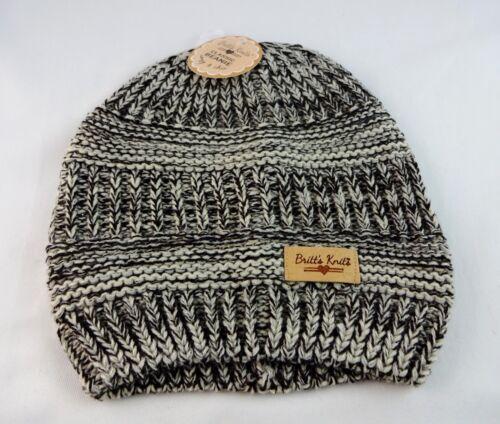 Brown Beige Knit Classic Beanie Winter Hat Ladies One Size Britt/'s Knits