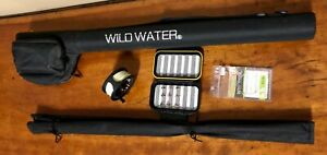 Wild-Water-Fly-Fishing-Rod-amp-Reel-Combo-Complete-Starter-Package-New