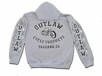 Outlaw Cycle Products Biker Hoodie Gray Sweatshirt