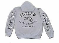 Outlaw Cycle Products Biker Hoodie Gray Sweatshirt