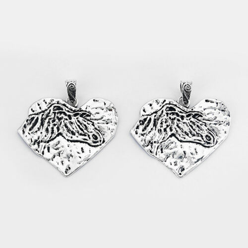 2Pcs Large Antique Silver Hammered Heart Charms Pendants Jewelry Necklace Making