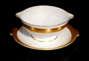 Stunning-Rosenthal-Selb-Plossberg-Gold-Encrusted-Aida-Gravy-Boat-And-Saucer