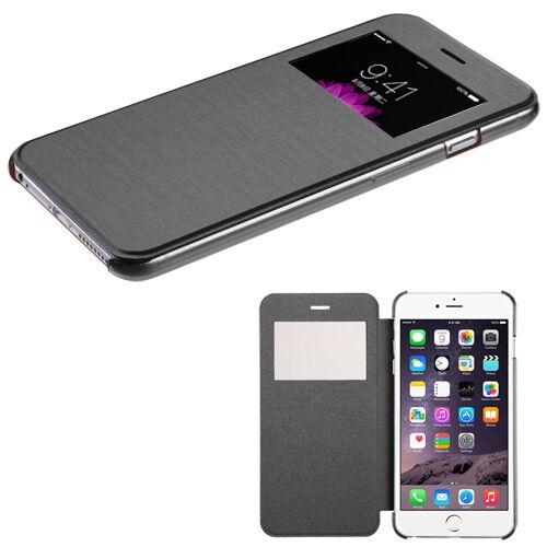 BLACK Flip Leather Wallet View Window Case Cover for Apple iPhone 6 PLUS 6S Plus