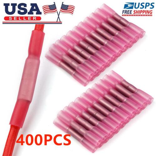400pcs Pink 18-22 GA Heat Shrink Butt Wire Terminals Insulated Crimp Connectors