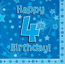 16 Pack Blue Boy 4 TODAY Happy 4th Birthday Stars Luncheon Paper Napkin 3ply