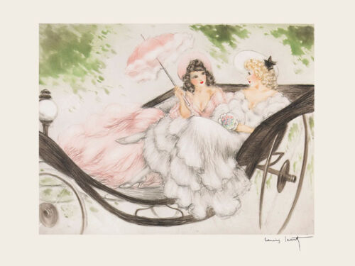 Icart Ladies Carriage Pink White Dress Deco Vintage Poster Repro FREE SHIPPING