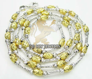 18-034-2-8mm-14K-White-Yellow-Gold-Italy-Diamond-Cut-Bead-Chain-Lady-Necklace
