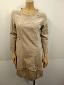 ELISA-CAVALETTI-DANIELA-DALLAWALLE-Designer-Samt-Kleid-Gr-L-40-Dress-Beige-Rose
