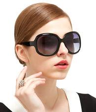 Women's Stylish Black Plastic Frame & Brown Plastic Lens Sunglasses, S3113 SSM17