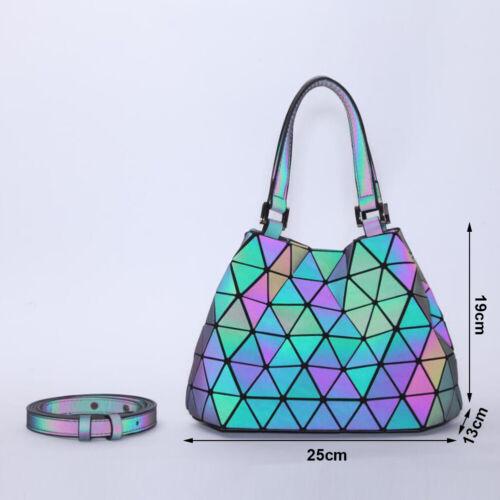 Geometric Purse Holographic Luminous Color Change Light Handbag Totes for Women
