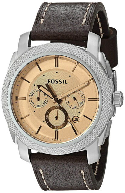 89539e912 Fossil FS5170 Machine Beige Dial Brown Leather Strap Chronograph Men's Watch