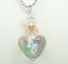 CREMATION JEWELRY GLASS CREMATION HEART URN NECKLACE BOTTLE MEMORIAL KEEPSAKE