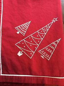 """Seasons of Cannon Falls Red Holiday Christmas Tablecloth 52"""" x 65"""" Embroidered"""