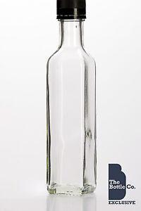 60-X-250ml-SQUARE-MARASCA-GLASS-BOTTLE-C-W-CAP-DRESSING-OIL-ETC