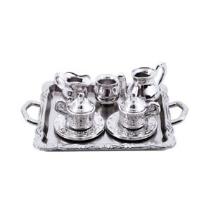 Dollhouse-Miniature-1-12-Toy-8-pcs-Metal-Tea-Set-Length-6-5cm-Silver-P5H4