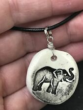 "Elephant Worry Stone Handmade Pottery Native American 18"" Black Rope Necklace B"