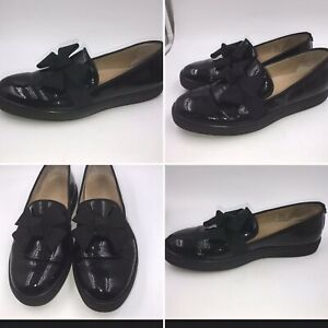Russell-amp-Bromley-Size-41-8-Black-Patent-Leather-Bow-Wedge-Flat-Loafers-Womens