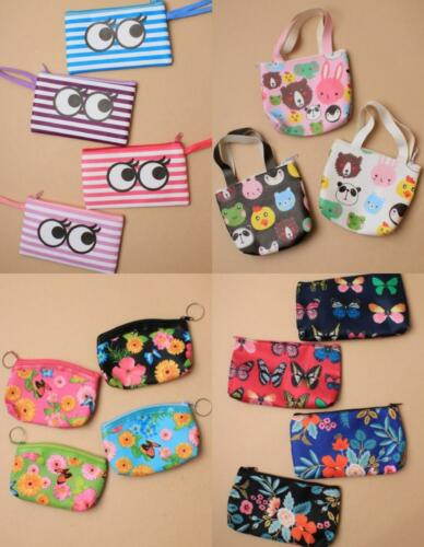 Brightly coloured butterfly flower striped eye animal printed zip purse
