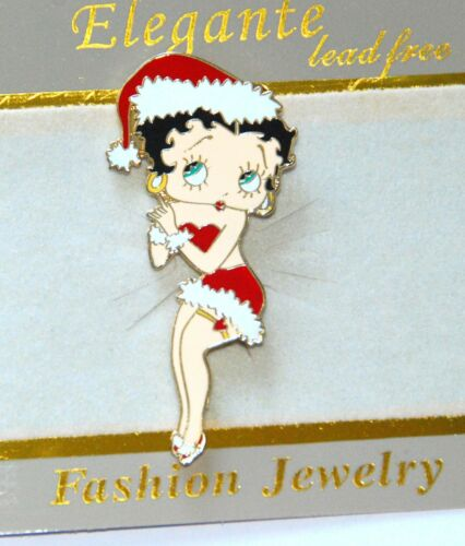 Gold-tone Holiday Jewelry Betty Boop Christmas Pin w Santa Hat