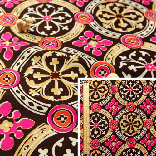Brown Pink Fat Quarter//MeterStretchy Cotton Fabric FQ  Large Celtic Tiles Sew