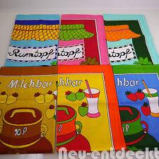 6 X Geschirr Tuch Tücher Geschirrhandtuch 70er Milchbar 70s Pop Art vintage 1102