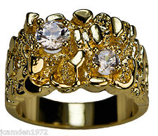 Men's Bold 1.5 carat cz Nugget Cluster Ring 18K Gold Overlay Size 14