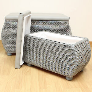 Pair-Of-Grey-Storage-Trunks-Benches-Woven-Blanket-Box-Stool-Bedding-Toy-Chest