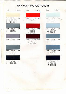 1965 FORD MUSTANG FAIRLANE RANCHERO GALAXIE CUSTOM 65 PAINT CHIPS DITZLER 2