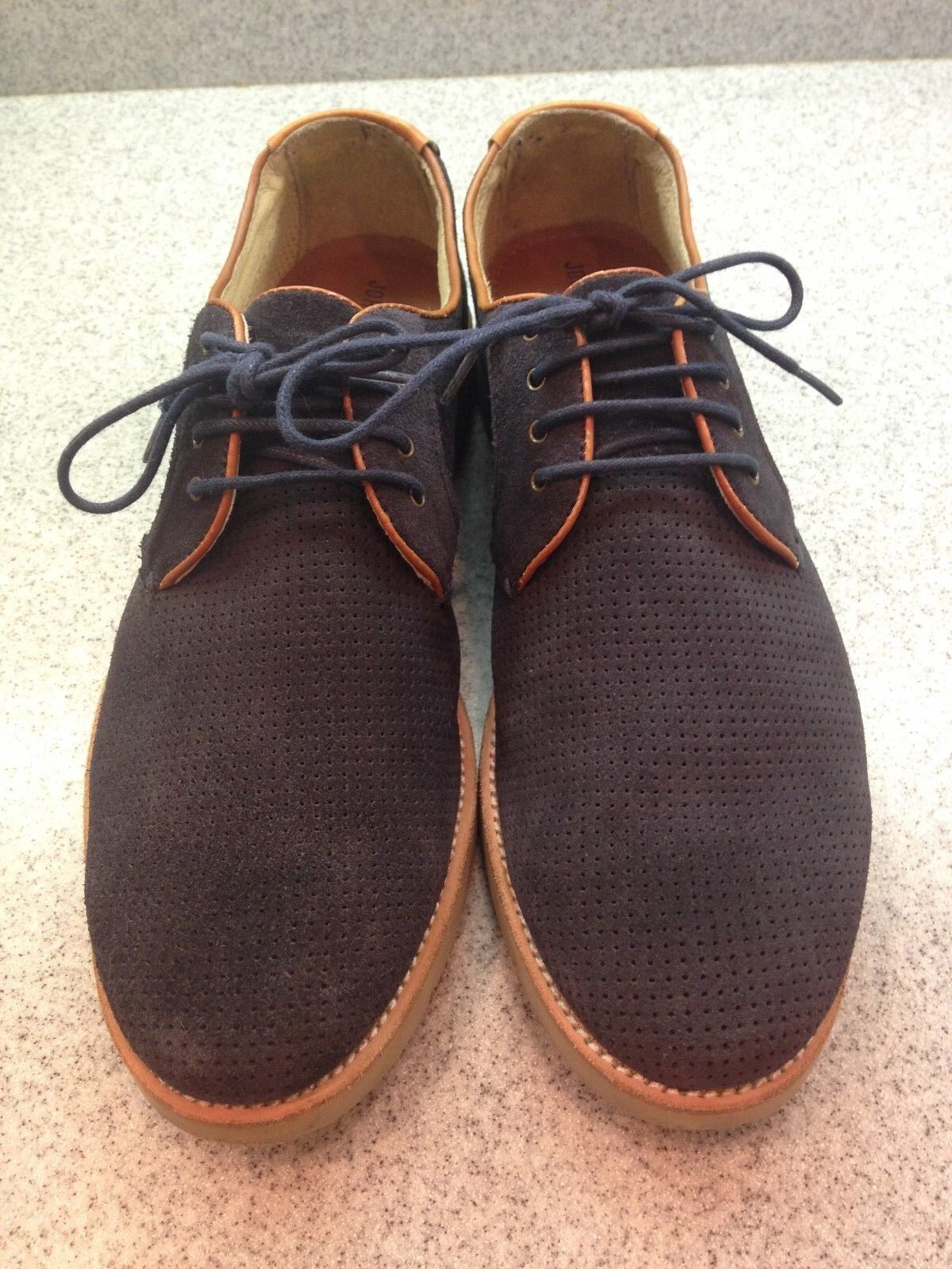 Johnston & Murphy Mens Navy bluee Suede Sheepskin Oxfords shoes Sz 8M Elvis