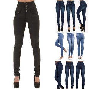 9d98d4e79b Dettagli su Donna Vita Alta Jeans Aderenti Denim Slim Pantaloni  Elasticizzati Matita