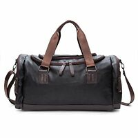 Large Black Rugged Handcrafted Leather Holdall Duffle Gym Travel Weekend Bag