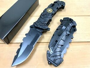 """9"""" ARMY Military Spring Assisted Open Tactical Rescue Folding Blade POCKET KNIFE"""