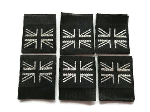 Noir /& argent lurex//métallique drapeau de l/'union//union jack étiquettes tissées 25mm plié