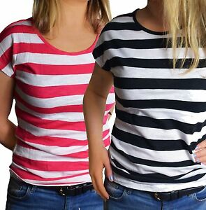 UK-Size-10-18-Ladies-DOUBLE-PACK-Striped-T-Shirts-Tees-White-Red-amp-White-Black