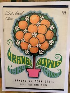 1969 Orange Bowl Penn St. vs Kansas football program/JOHN RIGGINS ...