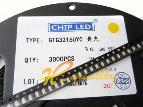 200pcs Yellow super bright 1206 smd led light bulbs car SMT Brightness High new