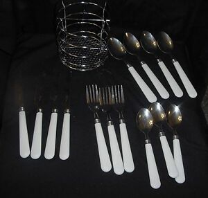 Image Is Loading Gibson Flatware White Handle 14 Pieces Plus Stainless