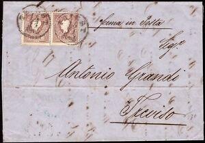 AUSTRIA-OSTERREICH-1858-10-kr-n-9-X2-TRIESTE-X-TREVISO-250