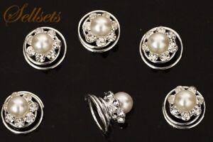 6-Cristal-Claro-Perla-Remolino-Ornamentos-Espirales-Boda-Accesorios-Para-Pelo-GB