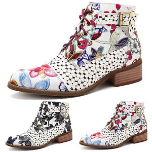 Womens-Casual-Retro-Floral-Low-Block-Heel-Ankle-Boots-Zipper-Lace-Up-Party-Shoes