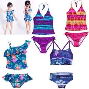 Girls-Youth-2PCS-Tankini-Swimwear-Swimsuit-Bikini-Beachwear-Pool-Bathing-Costume