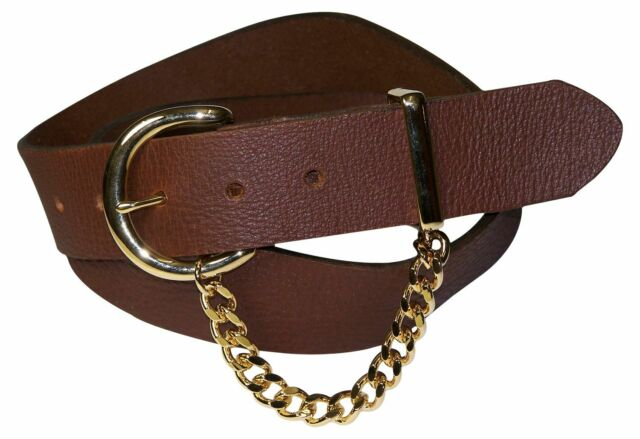 """FRONHOFER Chic women's genuine leather belt, gold buckle and chain, 1.5""""/4cm"""