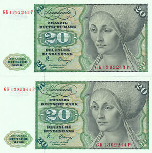 GERMANY-2-IN-A-ROW-20-MARK-1980-32B-UNC