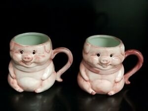 Lot-Of-2-Rich-039-s-Macy-039-s-Pink-Pig-Priscilla-50th-Anniversary-Coffee-Mug-1953-2003
