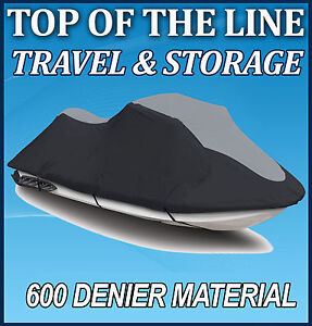 600 DENIER SeaDoo 02-06 GTX 4-Tec/ GTX/ DI Jet Ski Watercraft Cover Black/Grey
