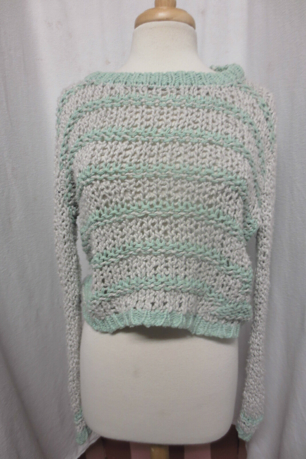 New NWT Free People Cloud Combo Grey Mint Green Chunky Loose Knit Sweater XS