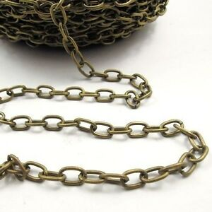 1//5M Gold//Silver Cable Open Ring Iron Alloy Chain Jewelry Make Finding 0.7x3x2mm