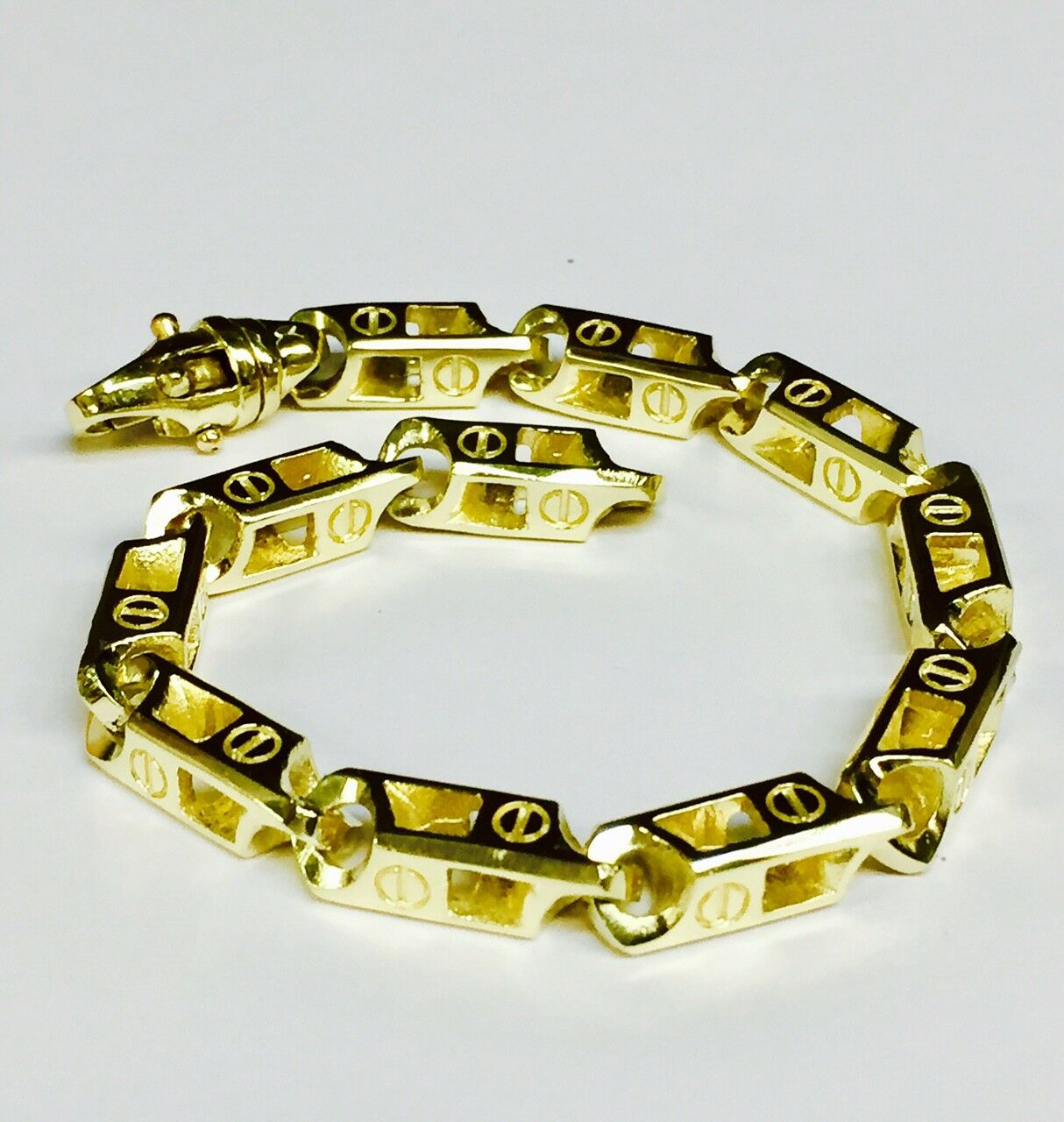 18k Solid Yellow gold Handmade Fashion Link Men Chain Bracelet 8.5  66grm  6.5MM